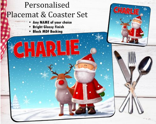 Personalised Christmas Table Placemat & Coaster Set N18